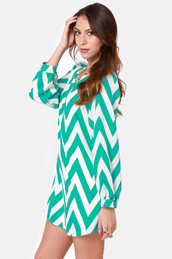 Zag Along Teal and Ivory Striped Dress at Lulus.com!