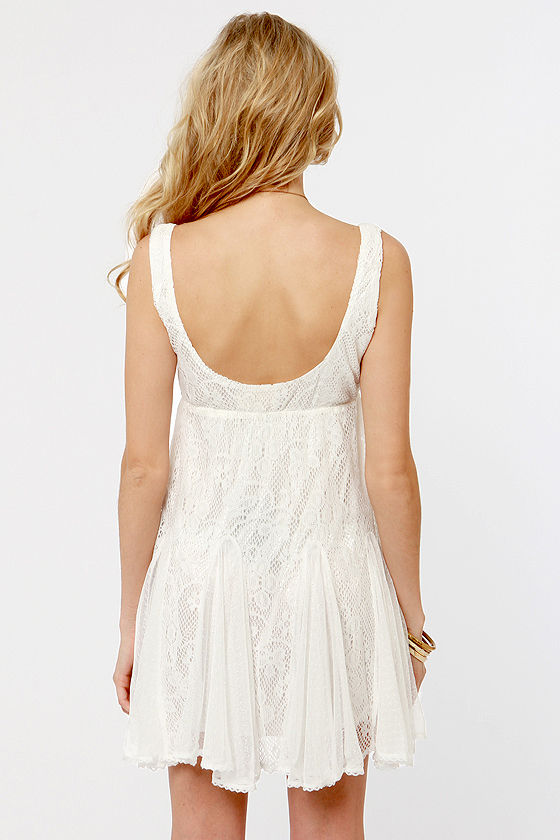 Chills and Frills Ivory Lace Dress at Lulus.com!