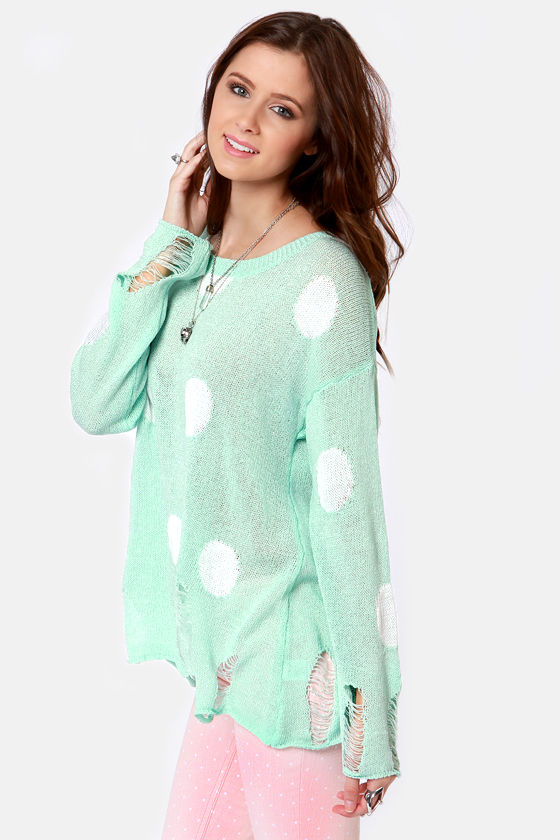 Loved to Shreds Mint Polka Dot Sweater at Lulus.com!
