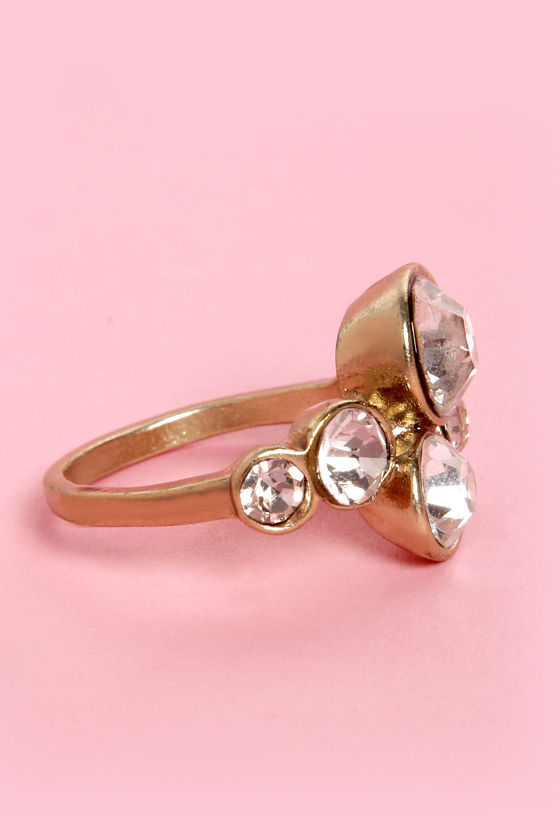 A Bling Called Love Gold Rhinestone Ring at Lulus.com!