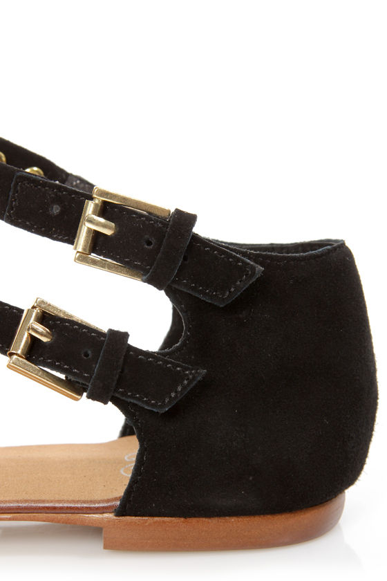 Envy Daphne Black Suede Studded Thong Sandals at Lulus.com!