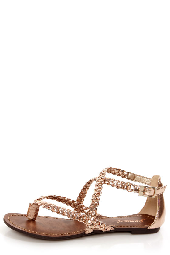 88e13acffd9 GoMax Berdine 53 Rose Gold Metallic Braided Gladiator Sandals -  32.00
