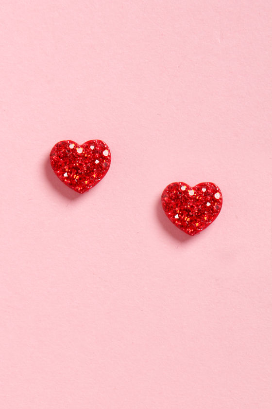 Ruby'n Hood Red Heart Earrings at Lulus.com!