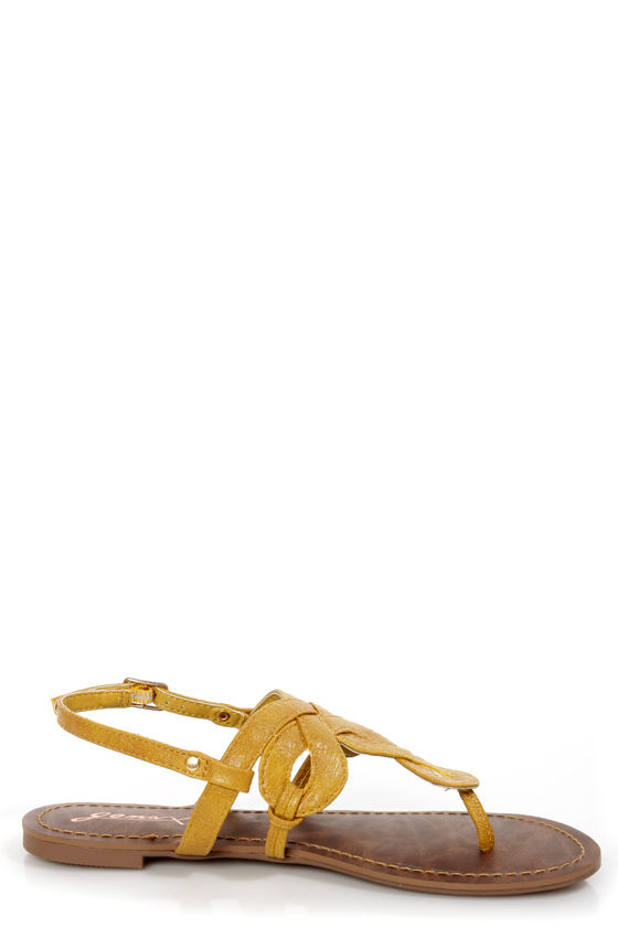GoMax Berdine 80 Yellow Loopy Thong Sandals at Lulus.com!