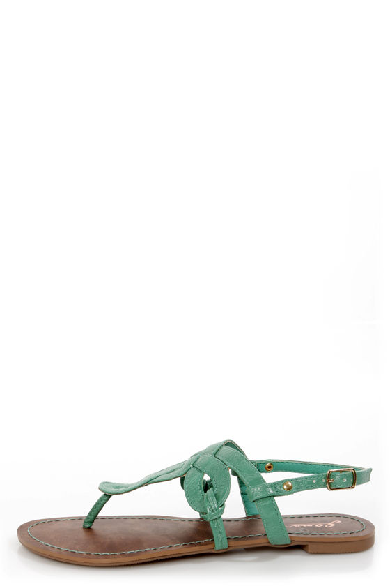GoMax Berdine 80 Green Loopy Thong Sandals at Lulus.com!