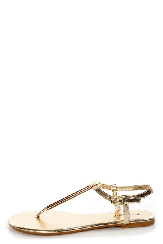 d0af199db738 Bamboo Macalen 06 Gold Metallic T-Strap Thong Sandals -  17.00