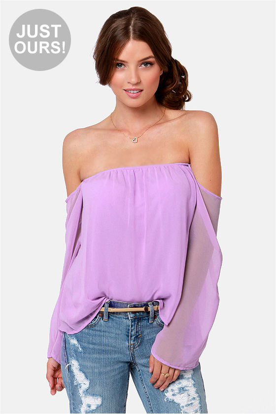 e54cfd6fd6875 Sexy Off-the-Shoulder Top - Lavender Top -  32.00