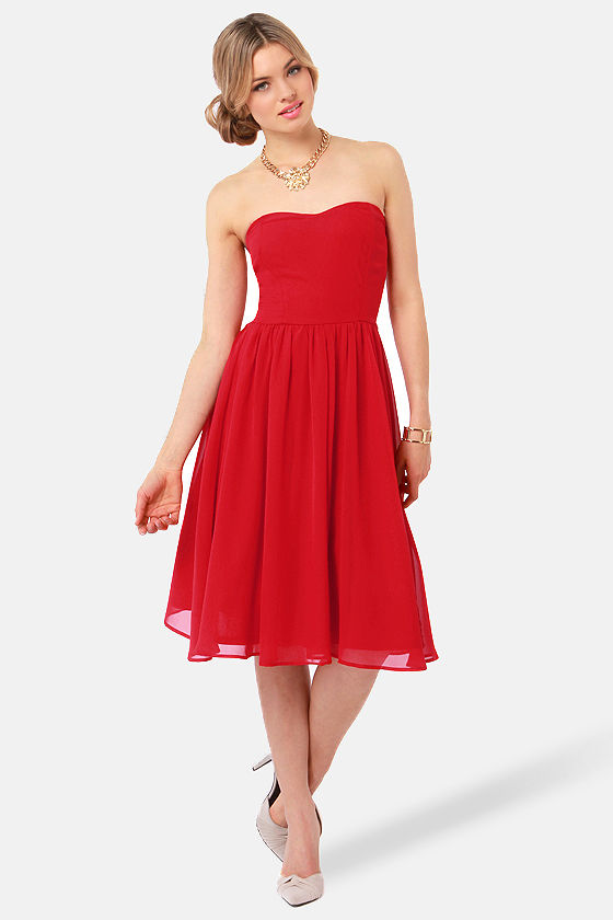 Lovely Strapless Dress - Red Dress - Midi Dress - $41.00