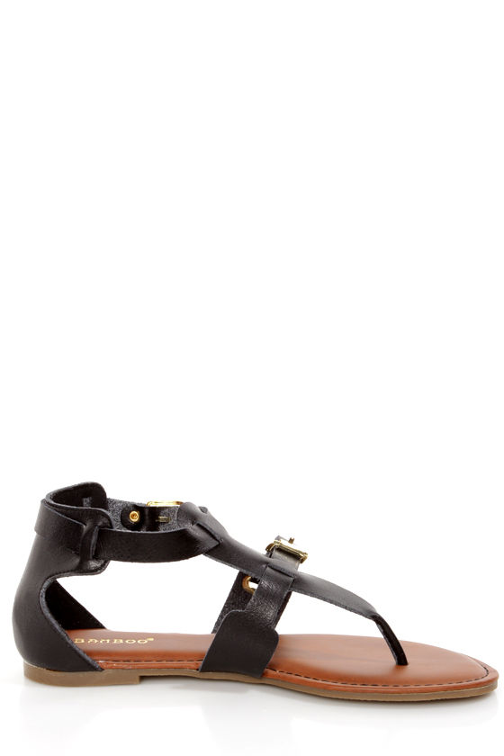 Bamboo Jazibel 05 Black Double T-Strap Thong Sandals at Lulus.com!