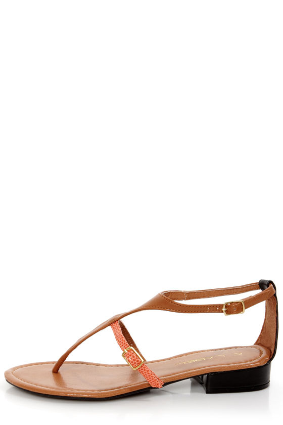 C Label Cabana 2A Tan and Orange Snake Thong Sandals at Lulus.com!