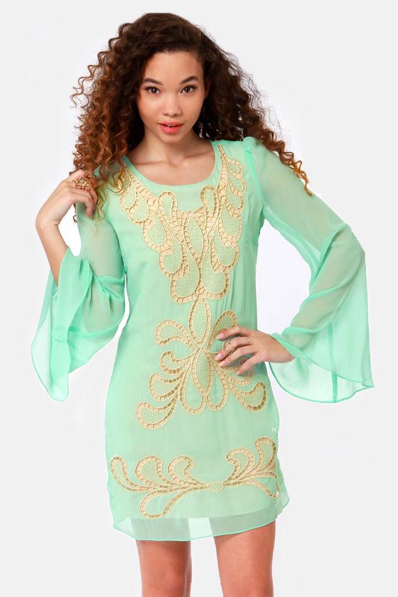 Taj Mah-Doll Embroidered Mint Green Dress at Lulus.com!