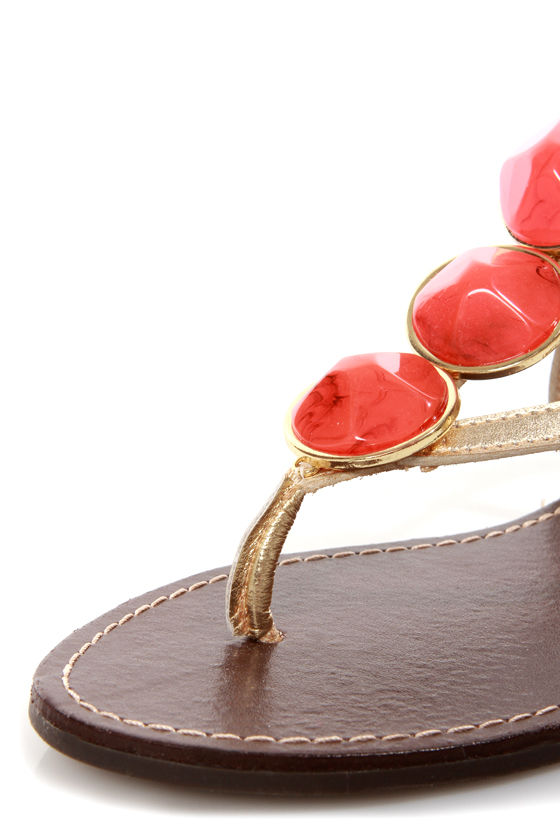 Dollhouse Island Gold and Orange Stone Embellished Thong Sandals at Lulus.com!