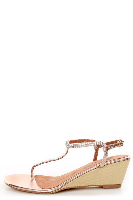 0924ebd21e9304 Very Volatile Jive Rose Gold Rhinestone Wedge Thong Sandals -  65.00
