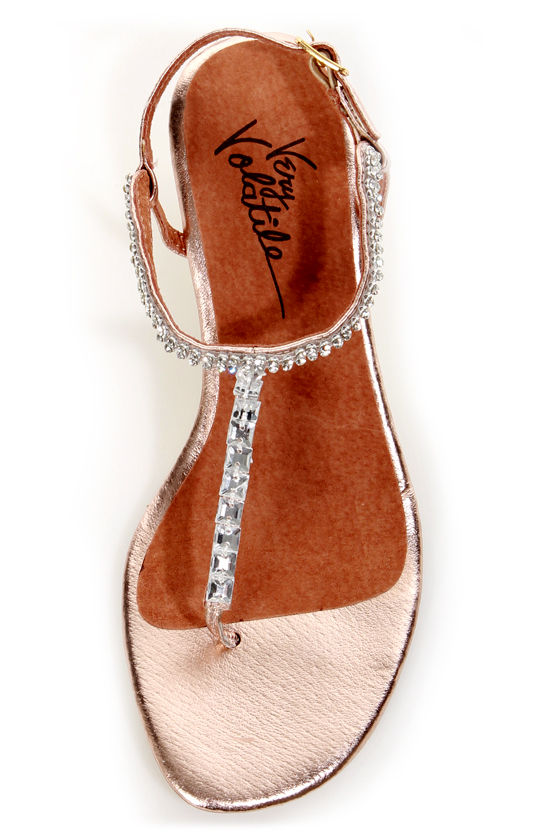 Very Volatile Jive Rose Gold Rhinestone Wedge Thong Sandals at Lulus.com!