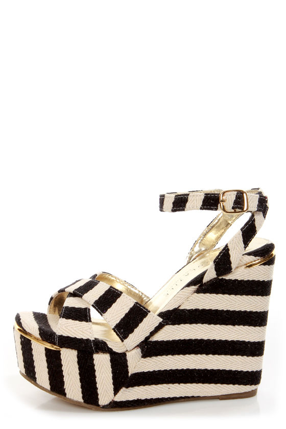 535613c1c8f23 Very Volatile Nauttie Black Striped Platform Wedge Sandals - $69.00