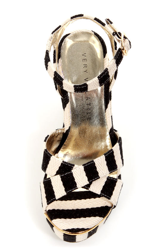 Very Volatile Nauttie Black Striped Platform Wedge Sandals at Lulus.com!