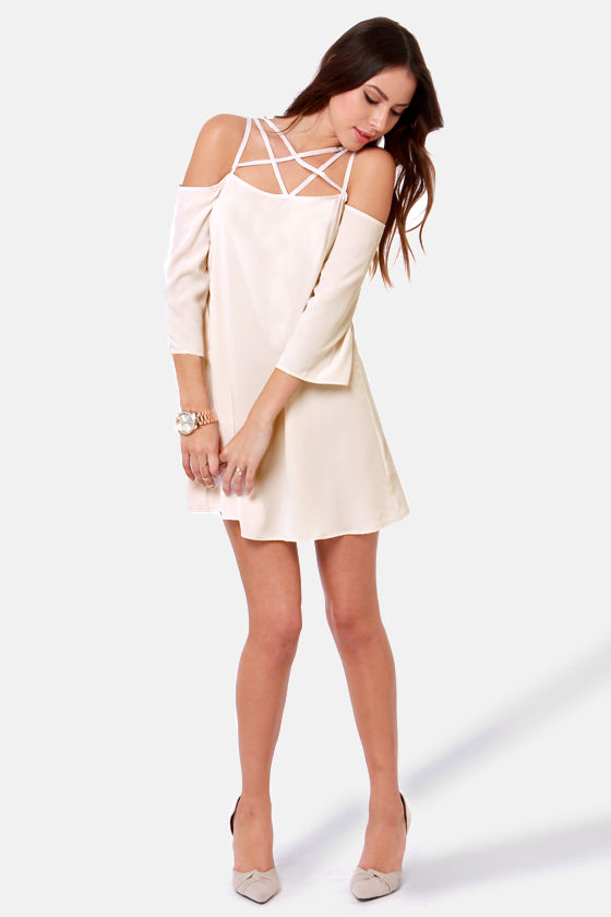 Arms Wide Open Off-the-Shoulder Ivory Dress at Lulus.com!