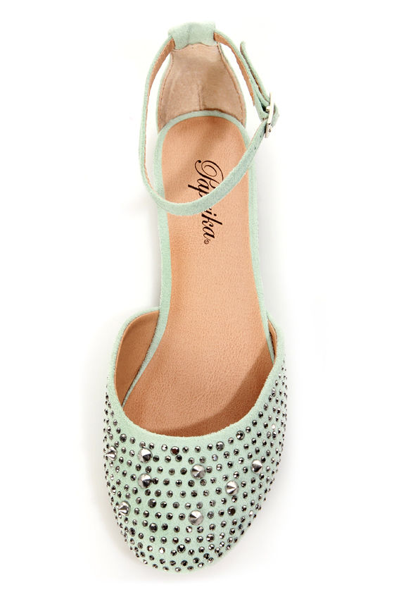 Paprika Jake Mint Rhinestone and Spike Studded Flats at Lulus.com!