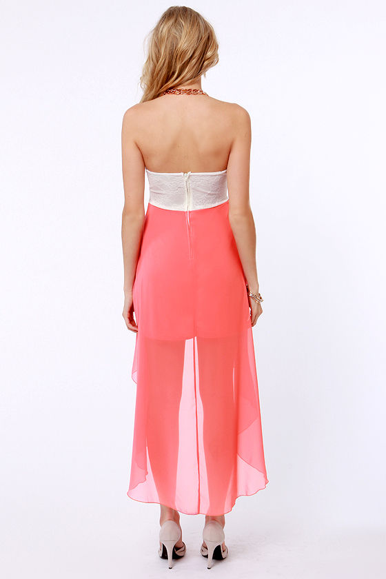 Modish of the Day Ivory and Coral Pink Dress at Lulus.com!