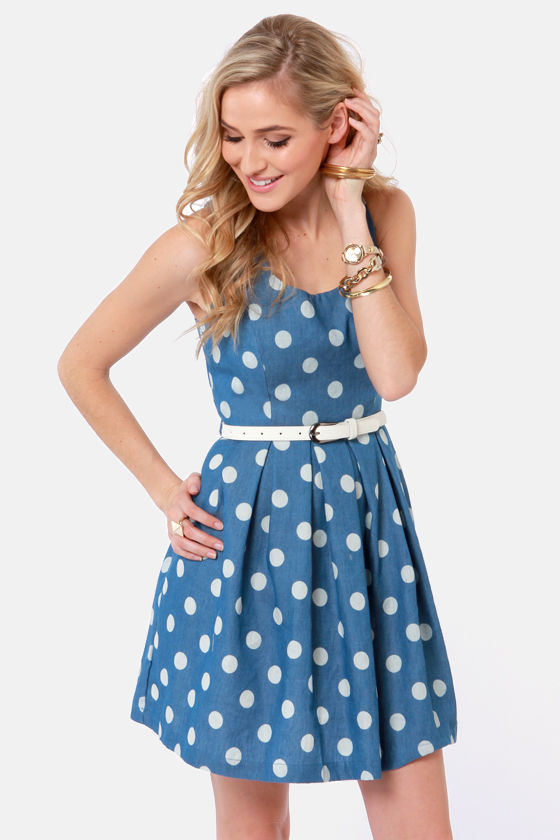 Cute Blue Dress - Polka Dot Dress - Sleeveless Dress - $39.00