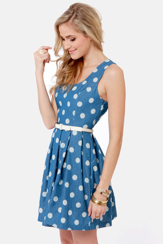 Tied Up in Dots Blue Polka Dot Dress at Lulus.com!