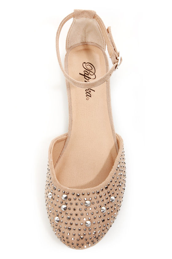 Paprika Jake Oatmeal Rhinestone and Spike Studded Flats at Lulus.com!