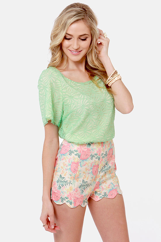 Dollop of Daisies Mint Lace Top at Lulus.com!