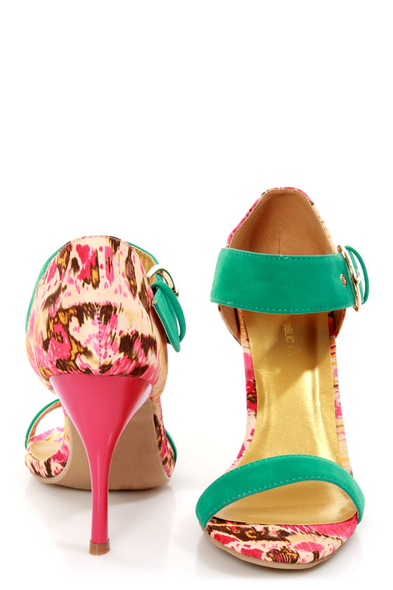 Shoe Republic LA Dress Turquoise and Ikat Print Heels at Lulus.com!