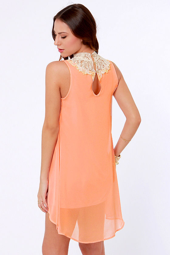 Yore's Truly Beige and Peach Lace Dress at Lulus.com!