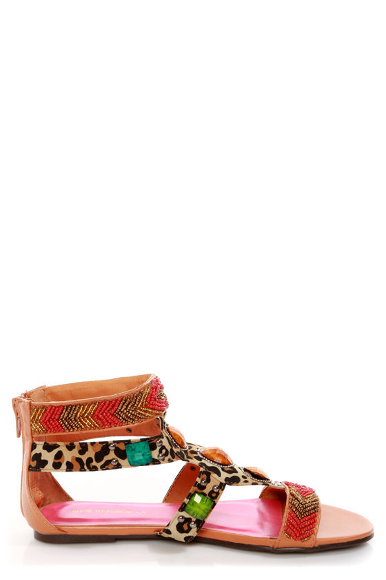 Shoe Republic LA Nation Brown Leopard Print Beaded Sandals at Lulus.com!