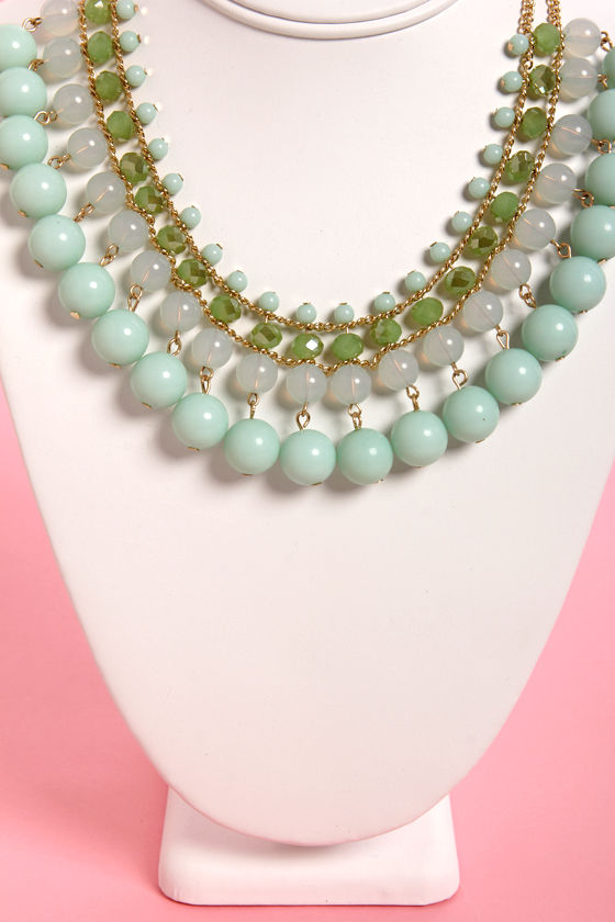 Bauble Wrap Mint Beaded Necklace at Lulus.com!