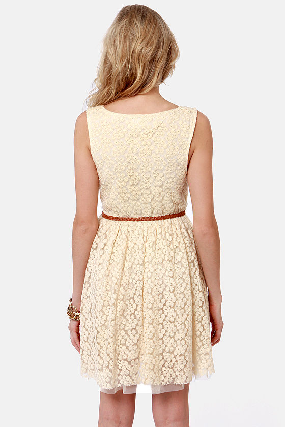 Lost Moxie Cream Lace Dress at Lulus.com!