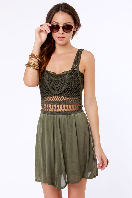 Lost Salton Crocheted Olive Green Dress at Lulus.com!