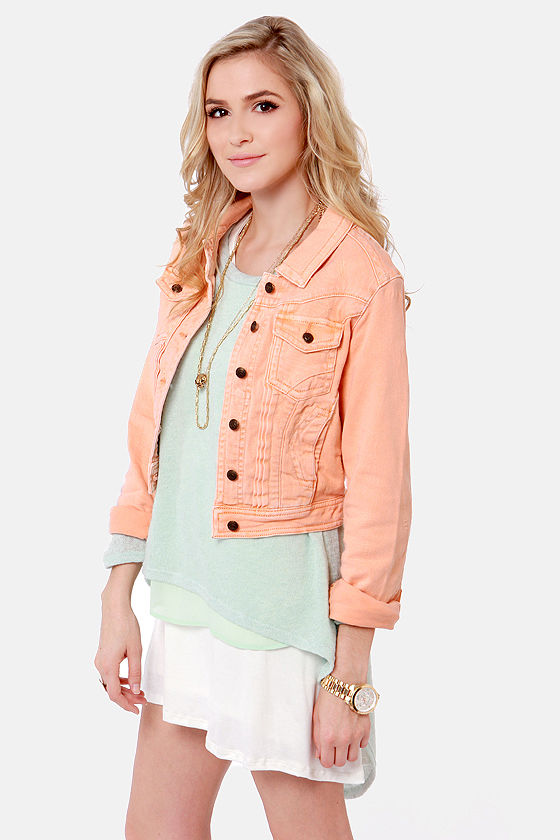 Lost Carper Distressed Peach Denim Jacket at Lulus.com!