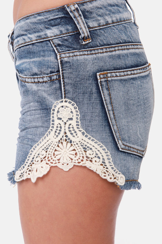Lost Shine On Lace Denim Shorts at Lulus.com!