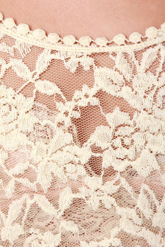 Lost Volare Cream Lace Top at Lulus.com!