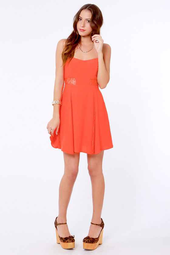 By the Lace-Sides Coral Lace Dress at Lulus.com!