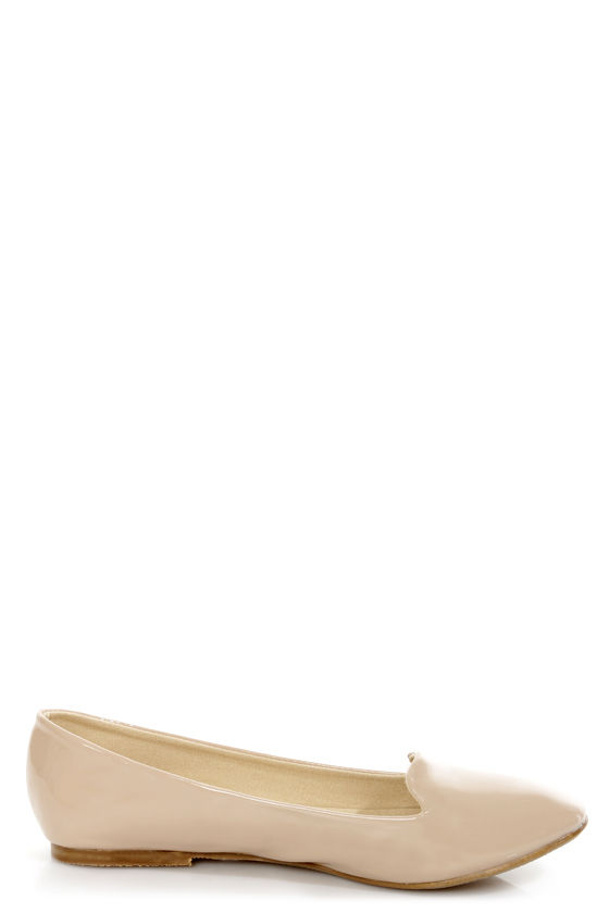 Mixx Shuz Leah Nude Patent Smoking Slipper Flats at Lulus.com!