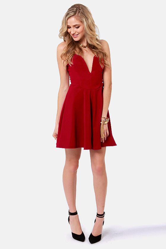 Roll With the Plunges Strapless Wine Red Dress at Lulus.com!