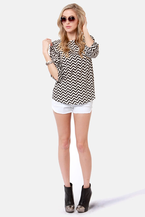 Fits and Squiggles Black and White Striped Top at Lulus.com!
