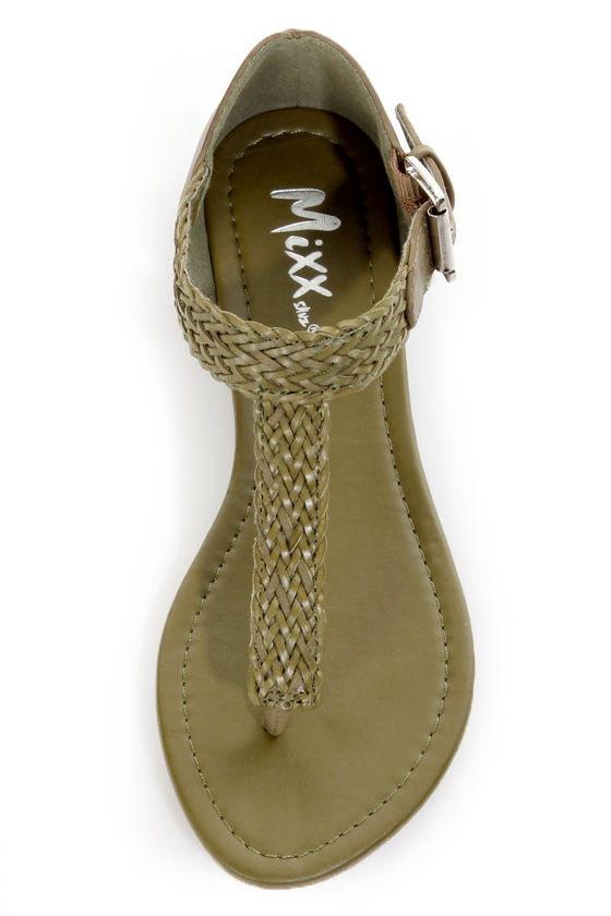 Mixx Shuz Quartz 03 Olive Green Braided Thong Sandals at Lulus.com!