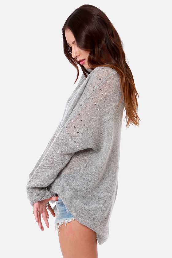 Snuggling Act Studded Grey Sweater at Lulus.com!