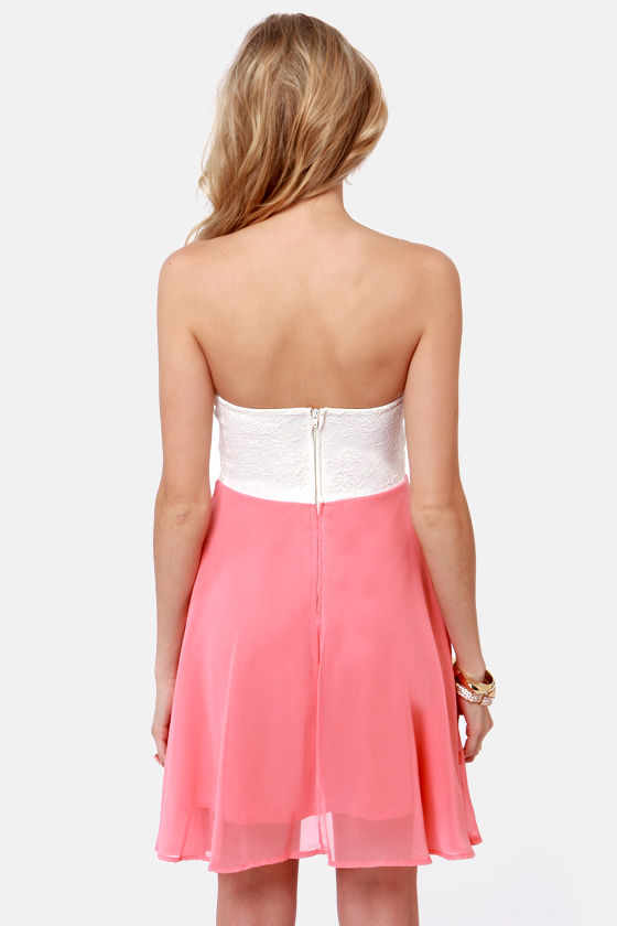 Ta-ra-ra Bustier! Ivory and Coral Dress at Lulus.com!