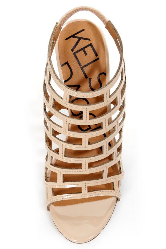 Kelsi Dagger Eris Beige Patent Cutout Cage Wedges at Lulus.com!