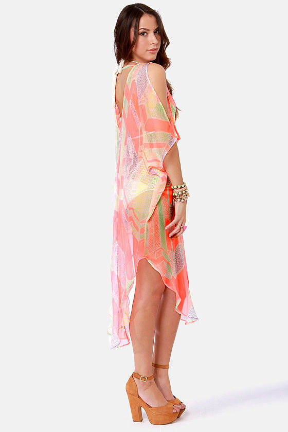 Where's the Beach? Sheer Neon Coral Print Cover-Up at Lulus.com!