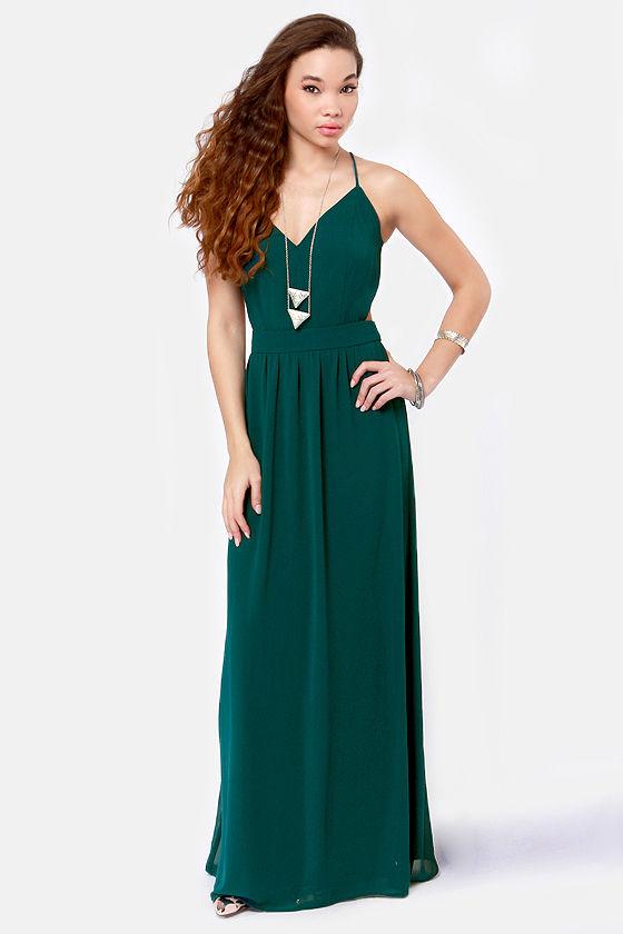 Sexy Backless Dress - Teal Dress - Maxi Dress - $49.00