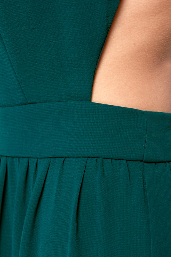 LULUS Exclusive Rooftop Garden Backless Dark Teal Maxi Dress at Lulus.com!