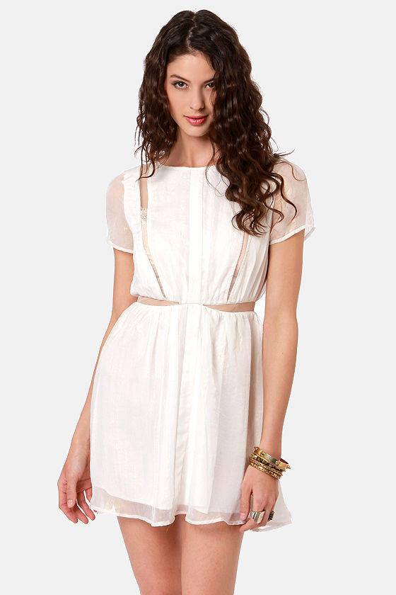 Slice of Life Cutout Ivory Dress at Lulus.com!