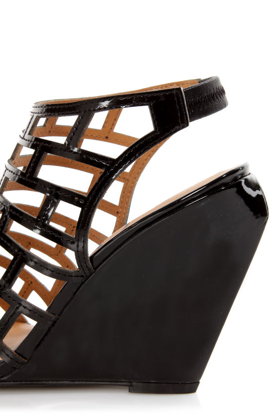 Kelsi Dagger Eris Black Patent Cutout Cage Wedges at Lulus.com!