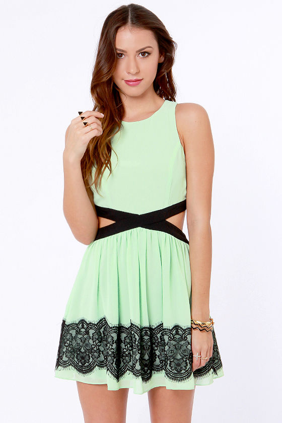 Black and mint green dress